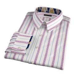 Albini Red Folk Stripe Custom Dress Shirt