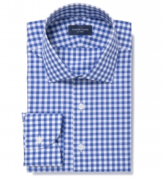 Melrose 120s Royal Blue Gingham Dress Shirt