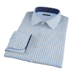 Canclini 120s Blue Reverse Bengal Stripe Fitted Dress Shirt
