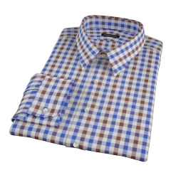 Blue and Brown Large Gingham Men's Dress Shirt