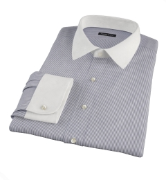 Carmine Black Pencil Stripe Dress Shirt