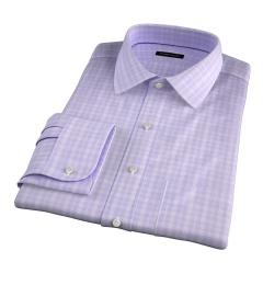 Thomas Mason Goldline Lavender Glen Plaid Fitted Dress Shirt