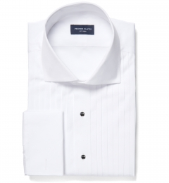 White 80s Broadcloth Fitted Dress Shirt