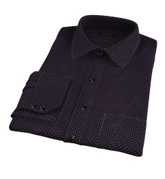 White on Black Printed Pindot Men's Dress Shirt