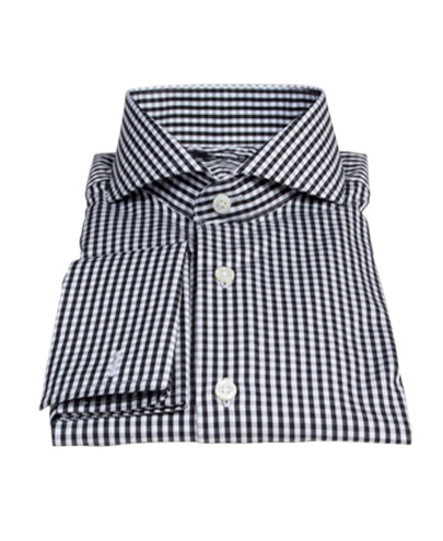 Small Black Gingham Fitted Dress Shirt By Proper Cloth