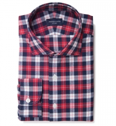 Cascade Scarlet Plaid Flannel Custom Dress Shirt
