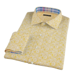 Canclini Orange Yellow Paisley Print Fitted Dress Shirt