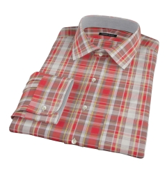 Canclini Red Yellow White Madras Fitted Dress Shirt
