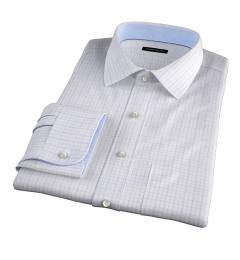 Verona Lavender 100s Border Grid Fitted Shirt
