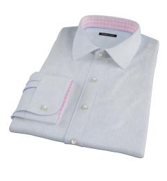 Thomas Mason Light Blue End on End Stripe Custom Dress Shirt
