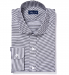 Carmine Black Horizontal Stripe Fitted Shirt