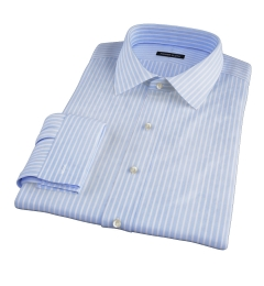 Light Blue Cotton Linen Stripe Dress Shirt
