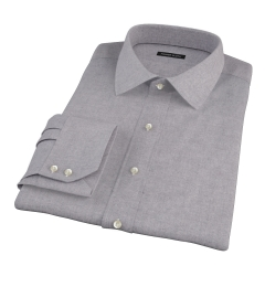 Canclini Grey Herringbone Flannel Fitted Dress Shirt