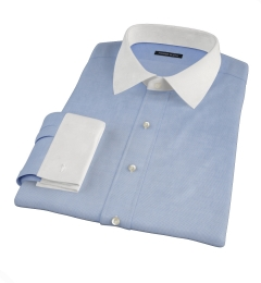 Thomas Mason Blue Mini Houndstooth Custom Dress Shirt