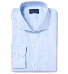 Canclini 120s Sky Blue Mini Gingham Men's Dress Shirt