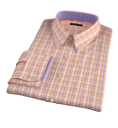 Canclini Orange San Sebastian Plaid Dress Shirt