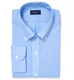 Light Blue Cotton Linen Houndstooth Fitted Dress Shirt