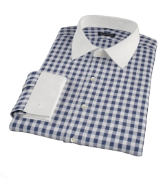 Navy Blue Large Gingham Custom Dress Shirt