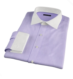 Genova 100s Lilac End-on-End Fitted Dress Shirt