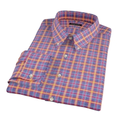 Yellow Blue Lewis Plaid Flannel Fitted Shirt