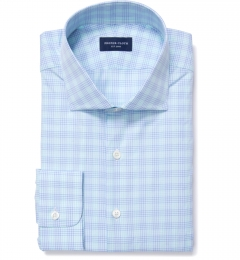 Alassio Aqua End on End Check Tailor Made Shirt
