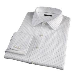White and Blue Mosaic Print Men's Dress Shirt