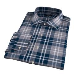 Teal and Cinder Large Plaid Flannel Men's Dress Shirt