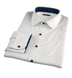 Navy on White Printed Pindot Custom Dress Shirt
