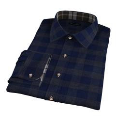 Canclini Navy Tonal Plaid Beacon Flannel Tailor Made Shirt