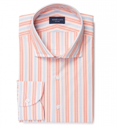 Albini Orange and Blue Summer Stripe Dress Shirt