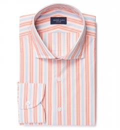Albini Orange and Blue Summer Stripe Dress Shirt