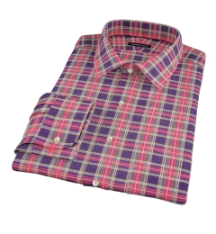 Red Navy Stewart Tartan Fitted Dress Shirt