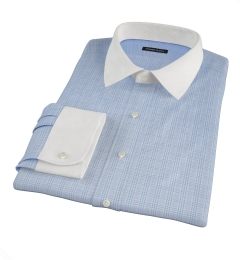 Thomas Mason Light Blue Glen Plaid Custom Dress Shirt