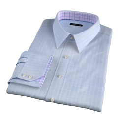Thomas Mason Goldline Light Blue Box Check Fitted Shirt