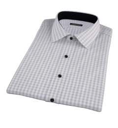 Canclini Grey 120s Gingham Short Sleeve Shirt