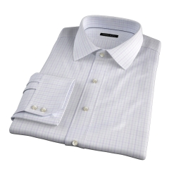 Verona Lavender 100s Border Grid Custom Made Shirt