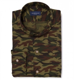 Fatigue Camouflage Print Custom Dress Shirt
