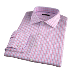 Novara Hibiscus and Blue Multi Check Dress Shirt