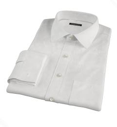 White Cavalry Twill Herringbone Fitted Dress Shirt
