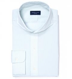 Canclini Seafoam Stripe Luxury Seersucker Fitted Shirt
