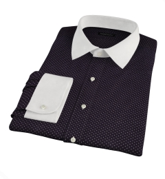 White on Black Printed Pindot Fitted Dress Shirt