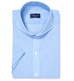 Light Blue Cotton Linen Houndstooth Tailor Made Shirt