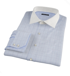 Carmine Sky Blue Prince of Wales Check Men's Dress Shirt