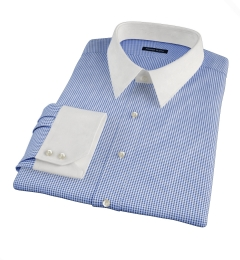 Vestry Blue Mini Gingham Fitted Dress Shirt
