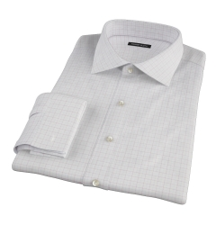 Mercer Red Twill Check Fitted Dress Shirt