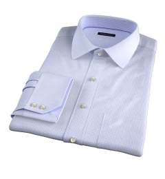 Madison Light Blue Mini Shadow Check Fitted Dress Shirt