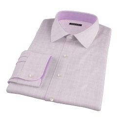 Carmine Pink Prince of Wales Check Fitted Dress Shirt
