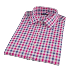 Red and Navy Large Gingham Short Sleeve Shirt