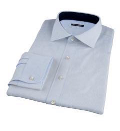 Light Blue Cotton Linen Houndstooth Dress Shirt
