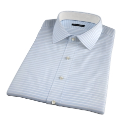 Canclini Light Blue Wide Horizontal Stripe Short Sleeve Shirt